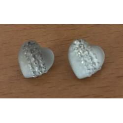 Hjerte plastikknap med akryl rhinsten. Pose med 2 knapper, 12x13mm.