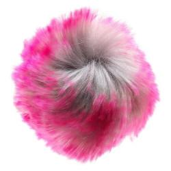Pompon akryl pink og grå 8 - 10 cm