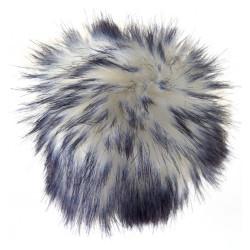 Pompon akryl hvid og blåsort 8 - 10 cm