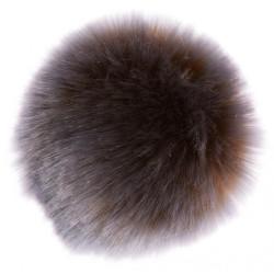 Pompon imiteret kanin lilla og brun 6 - 8 cm
