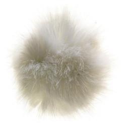 Pompon imiteret mink hvid 6 - 8 cm