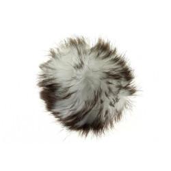 Pompon akryl hvid og brun 8 - 10 cm