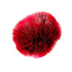 Pompon akryl lilla og rød 8 - 10 cm