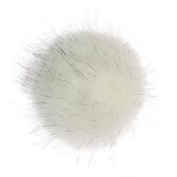 Pompon imiteret polarræv 6 - 8 cm