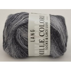 Lang Yarns Mille colori soks & lace luxe, farve 03 grå/sort med sølv glimmer, 100g