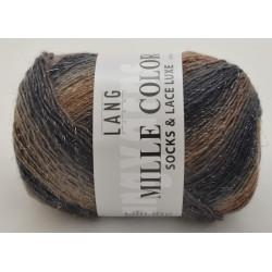Lang Yarns Mille colori soks & lace luxe, farve 26 grå/beige med sølv glimmer, 100g