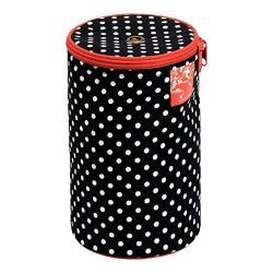 Garntaske fra Prym Ø 14,5 x 21,5 cm, polka dots hvid og sort