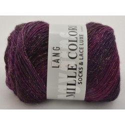 Lang Yarns Mille colori soks & lace luxe, farve 80 aubergine nuancer med guld glimmer, 100g