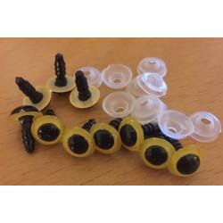 Sikkerhedsøjne 10mm, 5 gule/sorte par