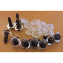 Sikkerhedsøjne 10mm, 5 klare/sorte par