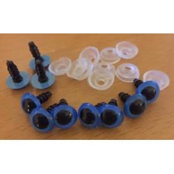 Sikkerhedsøjne 10mm, 5 blå/sorte par
