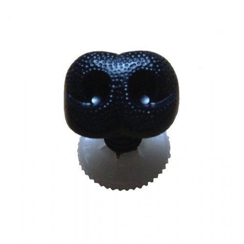 Bamsenæse med sikkerhedslås, sort, 18mm, 1 stk