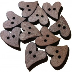 Brun hjerteknap i træ. Pose med 10 hjertemotiver, 20mm