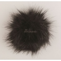 Pompon akryl sort 9 - 11 cm med tryklås