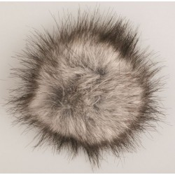 Pompon akryl grå 9 - 11 cm med tryklås