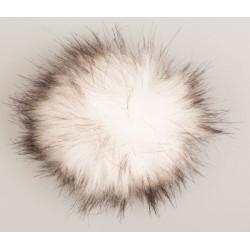 Pompon akryl hvid/sort 9 - 11 cm med tryklås