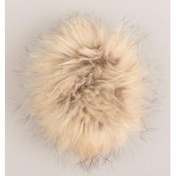 Pompon mårhund beige 11-14 cm med tryklås