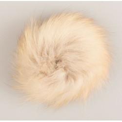 Pompon ræv natur 9 - 11 cm med tryklås