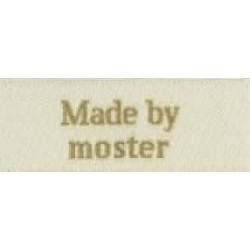 "Image of   Label ""made by moster"" 5 x 2 cm i beige garn stof labels beige"
