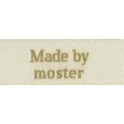 "Label ""made by moster"" 5 x 2 cm i beige"