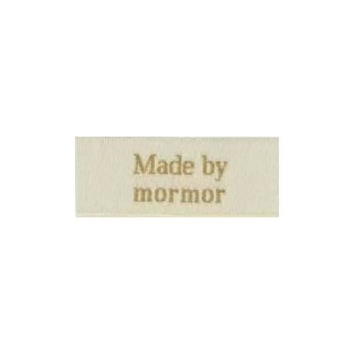 "Label ""made by mormor"" 5 x 2 cm i beige"
