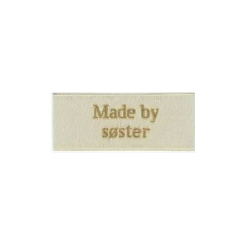 "Label ""made by søster"" 5 x 2 cm i beige"