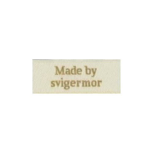 "Label ""made by svigermor"" 5 x 2 cm i beige"