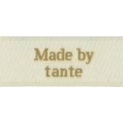 "Image of   Label ""made by tante"" 5 x 2 cm i beige garn stof labels beige"