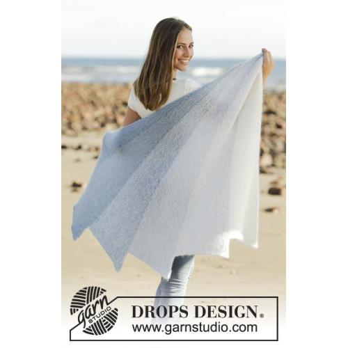 Blue Rainbow by DROPS Design Længde øverst: ca 160 cm.. DROPS ALPACA/DROPS KID-SILK