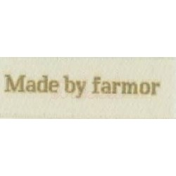 "Label ""made by farmor"" 5 x 2 cm i beige"