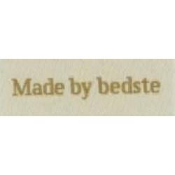 """Label """"made by bedste"""" 5 x 2 cm i beige"""
