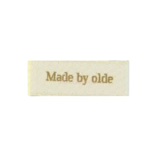 "Label ""made by olde"" 5 x 2 cm i beige"