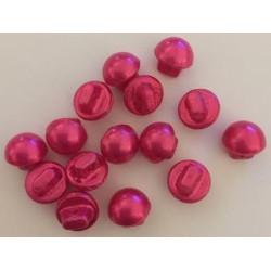 Champignon formede plastikknapper. Pose med 15 pink knapper. 10mm