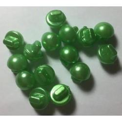 Champignon formede plastikknapper. Pose med 15 grønne knapper. 10mm