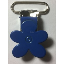 Blomster seleclips i metal. mørkeblå/sølv - 1 stk