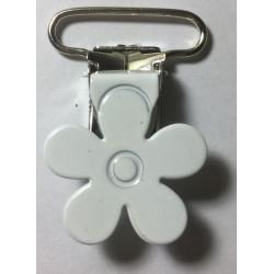 Blomster seleclips i metal. Hvid/sølv - 1 stk