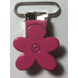 Blomster seleclips i metal. Pink/sølv - 1 stk