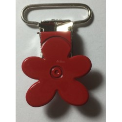 Blomster seleclips i metal. Rød/sølv - 1 stk