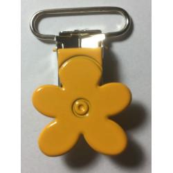 Blomster seleclips i metal. Orange/sølv - 1 stk