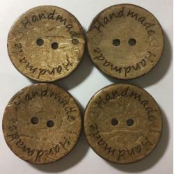 Kokosnød knap med tekst 'Handmade'. Pose med 4 knapper, 30mm