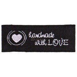 "Label ""handmade with LOVE"" 4,2 x 1,6 cm i sort"
