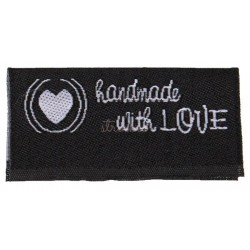 "Label ""handmade with LOVE"" 3,8 x 1,9 cm i sort"