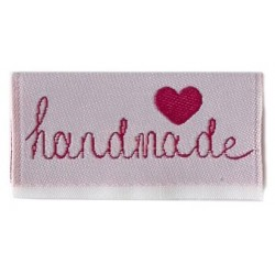 "Label ""handmade"". 4 x 2 cm lyserød"