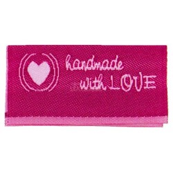 "Label ""handmade with LOVE"". 3,8 x 1,9 cm pink"