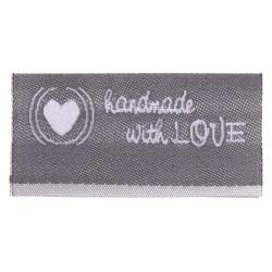 "Label ""handmade with LOVE"". 3,8 x 1,9 cm grå"