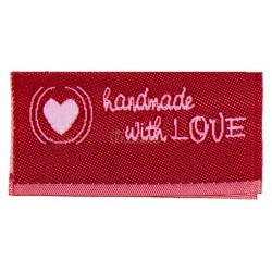 "Label ""handmade with LOVE"". 3,8 x 1,9 cm rød"