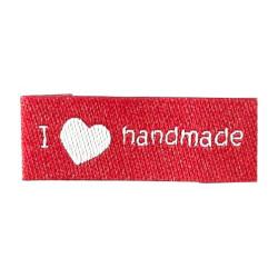 "Label ""I (heart) handmade"" 3,2 x 1,1 cm i rød"