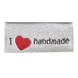 "UDGÅR Label ""I (heart) handmade"" 2,9 x 1 cm i grå"
