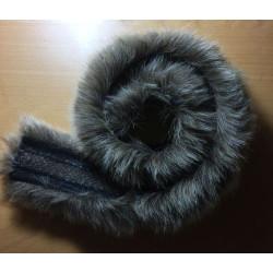 Pelskant imiteret ulv gråbrun 60 cm x 5 cm