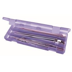 Plastboks til strikkepinde, lilla (uden indhold)